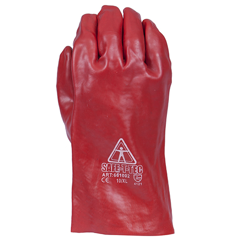 Safe-T-Tec: Red PVC Gauntlets