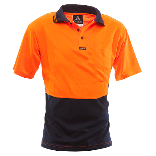Safe-T-Tec: Short Sleeve Polo Orange/Navy