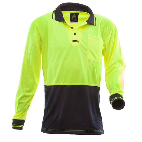 Safe-T-Tec: Long Sleeve Polo Yellow/Navy