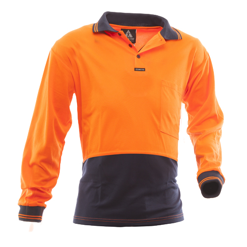 Safe-T-Tec: Long Sleeve Polo Orange/Navy