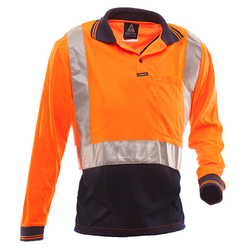 Safe-T-Tec: Long Sleeve Polo Day/Night Orange/Navy