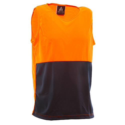 Safe-T-Tec: Orange/Navy Singlet