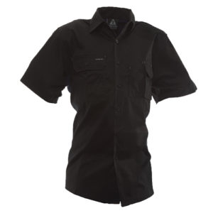 Safe-T-Tec: Short Sleeve Cotton Shirt. Black