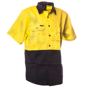 Safe-T-Tec: Short Sleeve Cotton Shirt. Yellow/Navy