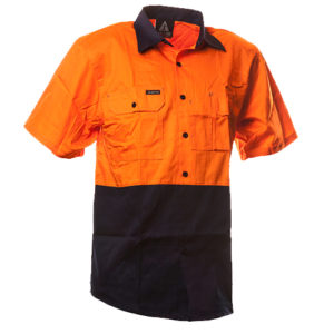 Safe-T-Tec: Short Sleeve Cotton Shirt. Orange/Navy
