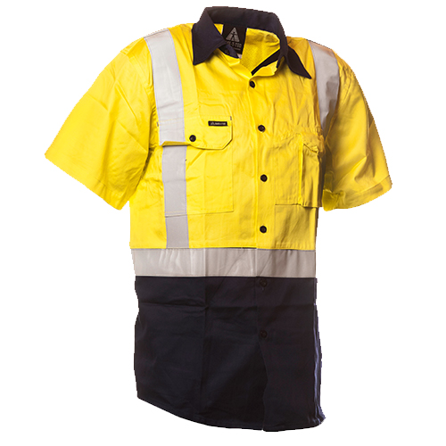 Safe-T-Tec: Short Sleeve Cotton Shirt. Yellow/Navy Day/Night