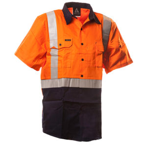 Safe-T-Tec: Short Sleeve Cotton Shirt. Orange/Navy. Day/Night