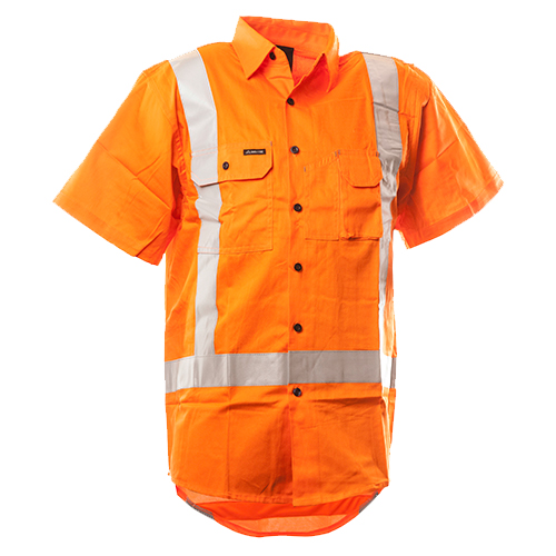 Safe-T-Tec: Short Sleeve Cotton Shirt. TTMC Orange