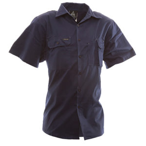 Safe-T-Tec: Short Sleeve Cotton Shirt. Navy