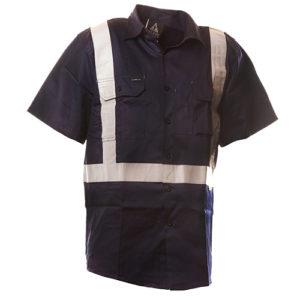 Safe-T-Tec: Short Sleeve Cotton Shirt. Navy. Day/Night