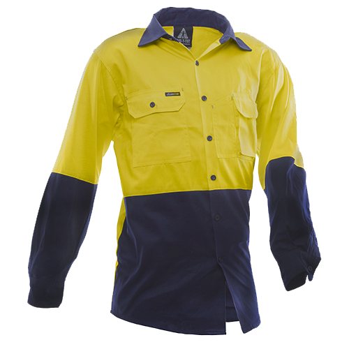 Safe-T-Tec: Long Sleeve Cotton Shirt. Yellow/Navy