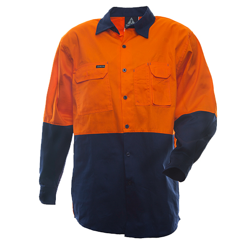 Safe-T-Tec: Long Sleeve Cotton Shirt. Orange/Navy