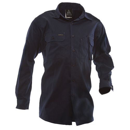 Safe-T-Tec: Long Sleeve Cotton Shirt. Navy