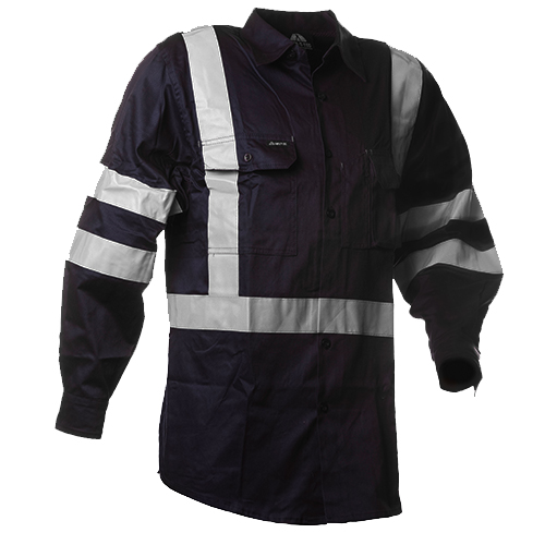 Safe-T-Tec: Long Sleeve Cotton Shirt. Day/Night
