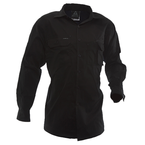 Safe-T-Tec: Long Sleeve Cotton Shirt. Black