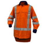 Safe-T-Tec: Rip Stop Cotton Shirt Orange/Navy