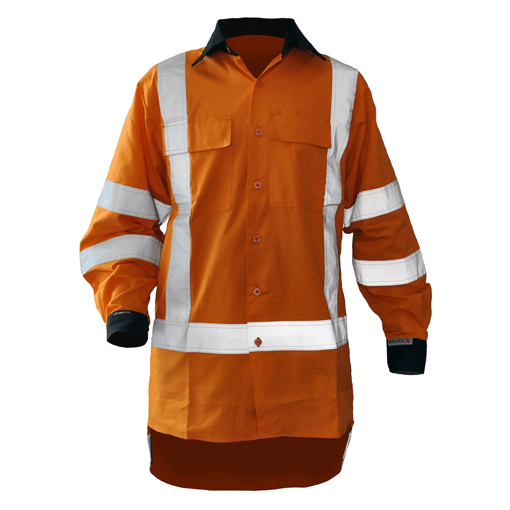 Safe-T-Tec: Rip Stop Cotton Shirt Orange/Navy
