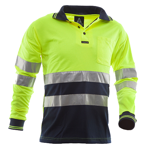 Safe-T-Tec: Long Sleeve Polo Hoop Style Yellow/Navy