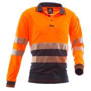 Safe-T-Tec: Long Sleeve Polo Hoop Style Orange/Navy