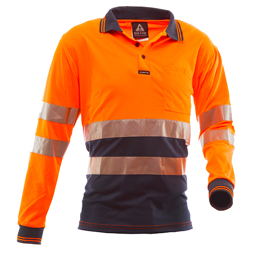 Safe-T-Tec: Long Sleeve Polo Hoop Style Orange/Navy