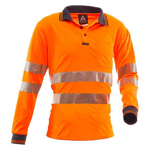 Safe-T-Tec: Long Sleeve Polo Hoop Style Orange
