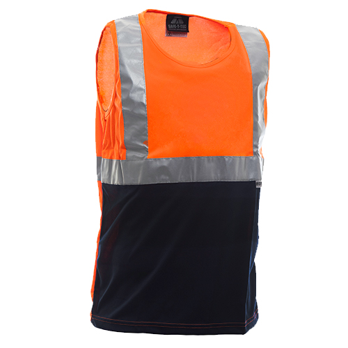 Safe-T-Tec: Orange/Navy Day/Night Singlet
