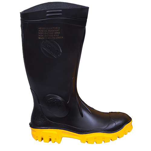 Safe-T-Tec: Black - Yellow Gumboot