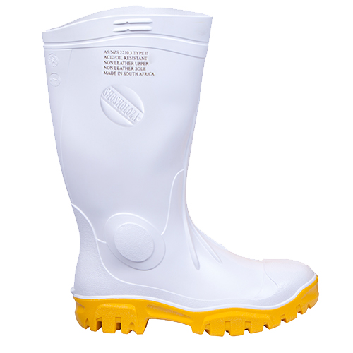 Safe-T-Tec: White - Yellow Gumboot